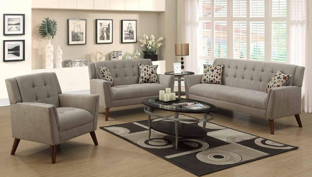 Oatmeal Poly Chenille Sofa Set   Furniture App Online By Furniture Assistant