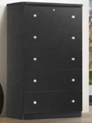 Black 5 Drawer Chest Jumbo - Furniture App Online by Furniture Assistant  a Furniture Store in York PA