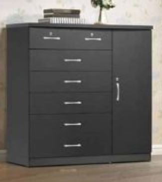 Black 7 Drawer Chest & 1 Door - Furniture App Online by Furniture Assistant  a Furniture Store in York PA
