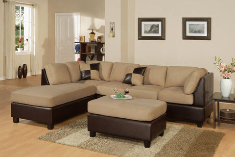 Hazelnut Microfiber Sectional Sofa - Furniture App Online by Furniture Assistant  a Furniture Store in York PA
