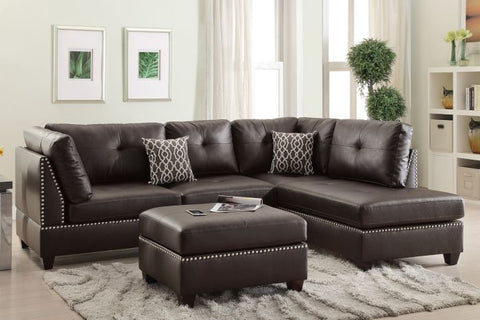 Espresso Leather Sectional with Ottoman Sofa Set - Furniture App Online by Furniture Assistant  a Furniture Store in York PA