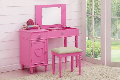 Pink Wood Vanity Set with Mirror Stool - Furniture App Online by Furniture Assistant  a Furniture Store in York PA