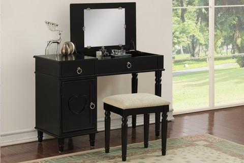 Black Wood Vanity Set with Mirror Stool - Furniture App Online by Furniture Assistant  a Furniture Store in York PA