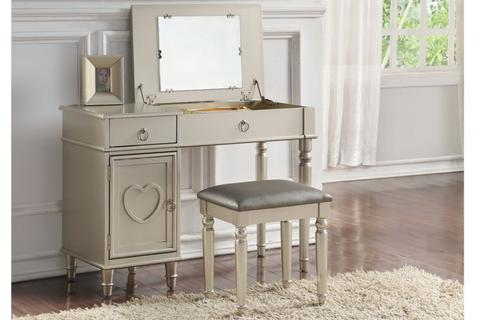 Silver Wood Vanity Set with Mirror Stool - Furniture App Online by Furniture Assistant  a Furniture Store in York PA