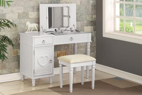 White Wood Vanity Set with Mirror Stool - Furniture App Online