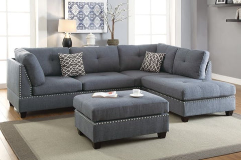 Blue Grey Polyfiber Sectional with Ottoman Sofa Set - Furniture App Online by Furniture Assistant  a Furniture Store in York PA