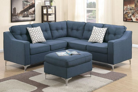 Navy Polyfiber Sectional w/ Ottoman - Furniture App Online by Furniture Assistant  a Furniture Store in York PA