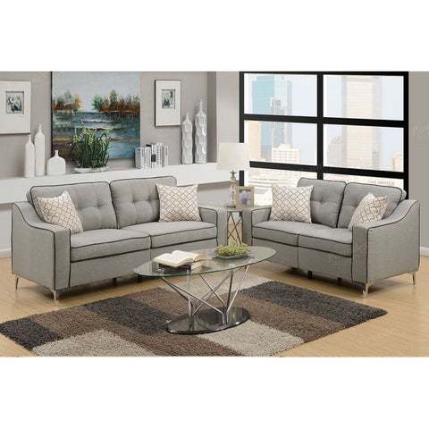 2 PC Light Grey Polyfiber Sofa Set - Furniture App Online by Furniture Assistant  a Furniture Store in York PA