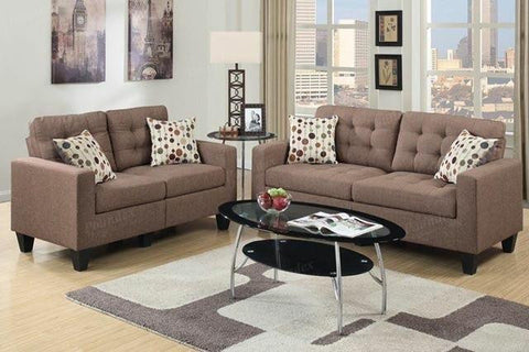 2 PC Light Coffee Polyfiber Sofa Set - Furniture App Online by Furniture Assistant  a Furniture Store in York PA