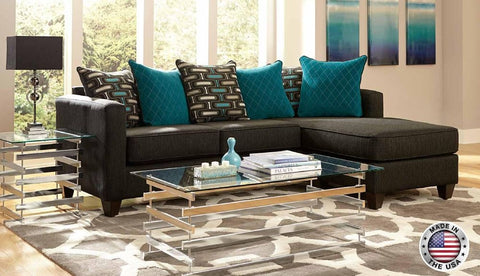 Charcoal & Teal Sofa Chase Sectional Set - Furniture App Online by Furniture Assistant  a Furniture Store in York PA