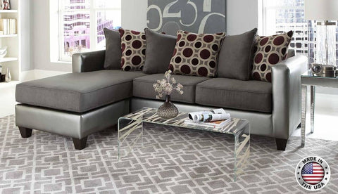 Silver & Grey Sofa Chaise Sectional Set - Furniture App Online by Furniture Assistant  a Furniture Store in York PA