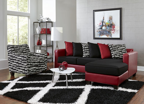 Red & Black Bicast Sofa Sectional Set with NYC Chair - Furniture App Online by Furniture Assistant  a Furniture Store in York PA