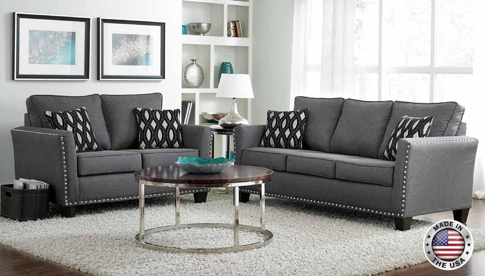 Grey Chenille Sofa Set With Nail Head Accents   Furniture App Online By  Furniture Assistant