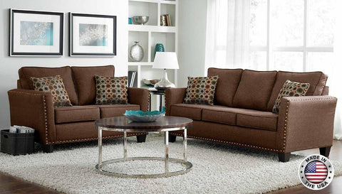 Brown Chenille Sofa Set with Nail Head Accents - Furniture App Online by Furniture Assistant  a Furniture Store in York PA