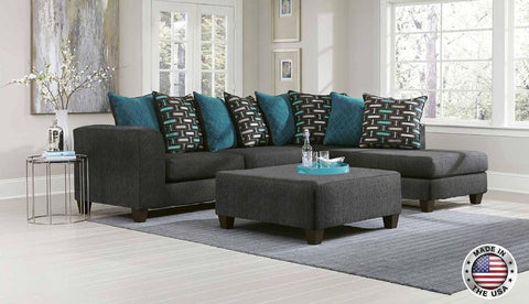 Charcoal & Teal Sofa Chaise Sectional Set - Furniture App Online by Furniture Assistant  a Furniture Store in York PA