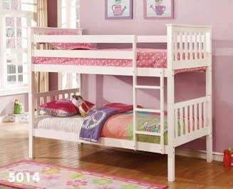 White Twin Twin Bunk bed - Furniture App Online