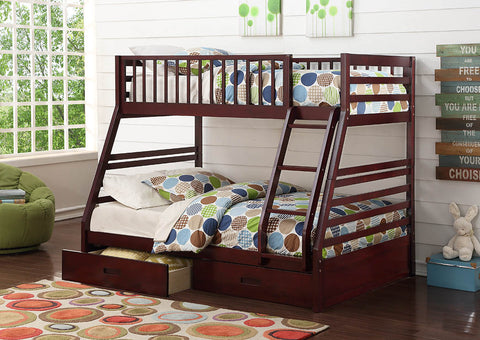 Cherry Twin Over Full Wooden Bunk Bed with Storage Drawers - Furniture App Online by Furniture Assistant  a Furniture Store in York PA