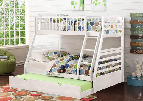 White Twin Over Full Wooden Bunk Bed with Trundle - Furniture App Online