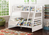 White Twin Over Full Wooden Bunk Bed with Storage Drawers - Furniture App Online