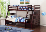 Cherry Twin Over Full Wooden Bunk Bed with Staircase - Furniture App Online by Furniture Assistant  a Furniture Store in York PA