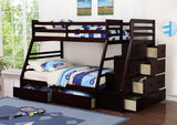 Java Twin Over Full Wooden Bunk Bed with Staircase and Trundle - Furniture App Online by Furniture Assistant  a Furniture Store in York PA