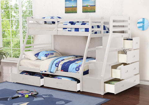 White Twin Over Full Wooden Bunk Bed with Staircase and Storage Drawers - Furniture App Online