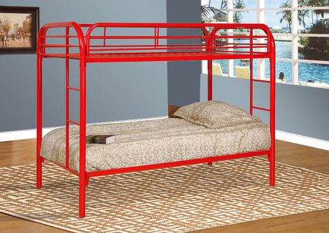 Red Twin Over Twin Metal Bunk Bed