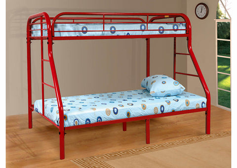 Red Twin Over Full Metal Bunk Bed