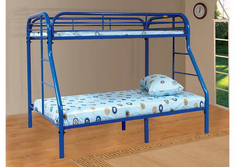 Blue Twin Over Full Metal Bunk Bed