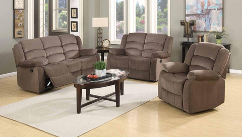 Cocoa Velveteen Double Reclining Sofa Set - Furniture App Online by Furniture Assistant  a Furniture Store in York PA