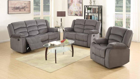 Grey Velveteen Double Reclining Sofa Set - Furniture App Online by Furniture Assistant  a Furniture Store in York PA