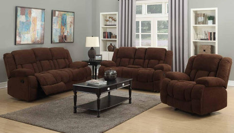 Chocolate Chenille Double Reclining Sofa Set - Furniture App Online by Furniture Assistant  a Furniture Store in York PA