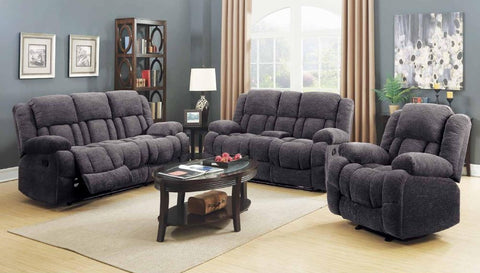 Grey Chenille Double Reclining Sofa Set - Furniture App Online by Furniture Assistant  a Furniture Store in York PA