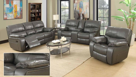 Grey Leather Double Reclining Sofa Set - Furniture App Online by Furniture Assistant  a Furniture Store in York PA
