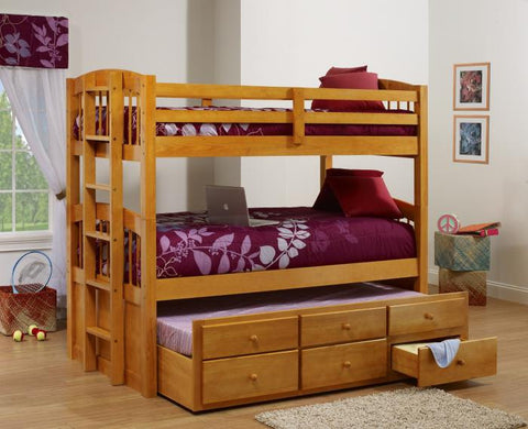 Honey Pine Bunk Bed With Pull Out Trundle - Furniture App Online by Furniture Assistant  a Furniture Store in York PA