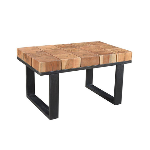 Solid Acacia Wood Coffee Table with Iron Legs - Furniture App Online by Furniture Assistant  a Furniture Store in York PA