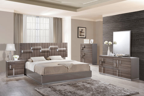 Adel Grey Glossy & Zebra Wood Bed - Furniture App Online by Furniture Assistant  a Furniture Store in York PA
