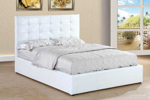 White Upholstered Tufted Lift Bed - Furniture App Online
