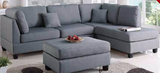 3 PC Grey Sand Sectional Sofa with Ottoman - Furniture App Online by Furniture Assistant  a Furniture Store in York PA