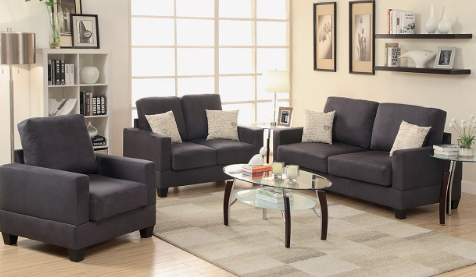 3PC Sofa Ebony Micro Suede - Furniture App Online by Furniture Assistant  a Furniture Store in York PA