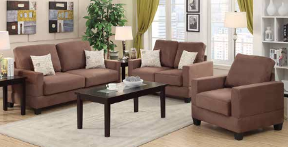 Peat Microsuede 3 Pieces Sofa Loveseat Chair Set - Furniture App Online by Furniture Assistant  a Furniture Store in York PA