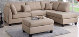 3 PC Chocolate Sand Sectional Sofa with Ottoman - Furniture App Online by Furniture Assistant  a Furniture Store in York PA