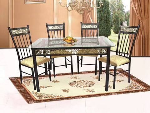 Gold Scrolled Metal Dining Set with 4 Gold Leaf Chairs - Furniture App Online by Furniture Assistant  a Furniture Store in York PA