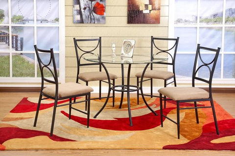 Round Glass & Metal Dining Set with 4 Chairs - Furniture App Online by Furniture Assistant  a Furniture Store in York PA