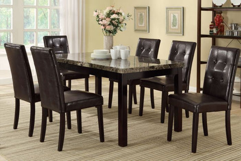 Casual Dark Brown 7 PCS Marble Table Top Dining Set - Furniture App Online by Furniture Assistant  a Furniture Store in York PA