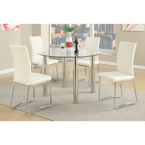 Chrome Glass Dining Table + Leather Chairs - Furniture App Online by Furniture Assistant  a Furniture Store in York PA