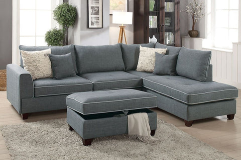 Steel Fabric Reversible Chaise Sectional Sofa Ottoman Set - Furniture App Online by Furniture Assistant