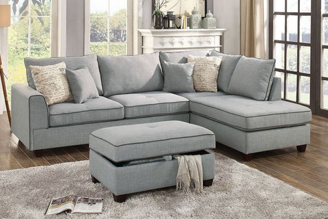 Light Grey Fabric Reversible Chaise Sectional Sofa Ottoman Set - Furniture App Online by Furniture Assistant  a Furniture Store in York PA