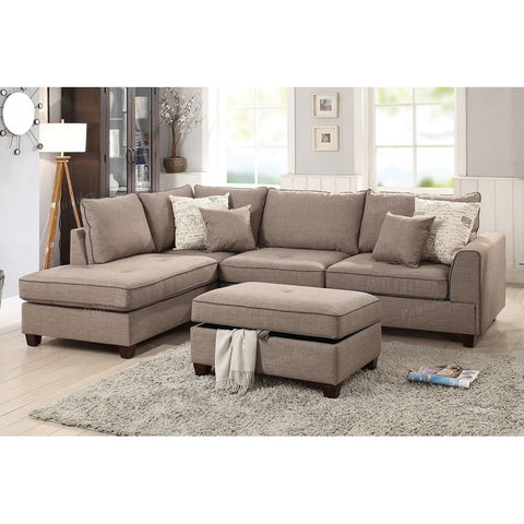 Mocha Fabric Reversible Chaise Sectional Sofa Ottoman Set - Furniture App Online