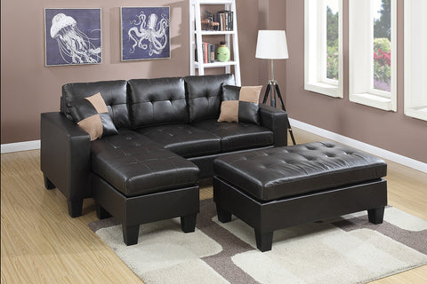 Cantor Brown Leather Sectional Sofa and Ottoman - Furniture App Online by Furniture Assistant  a Furniture Store in York PA